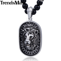 8mm Black Glass Ball Bead Link Chain 316L Stainless Steel Lion Pendant Necklace W Black Rhinestones