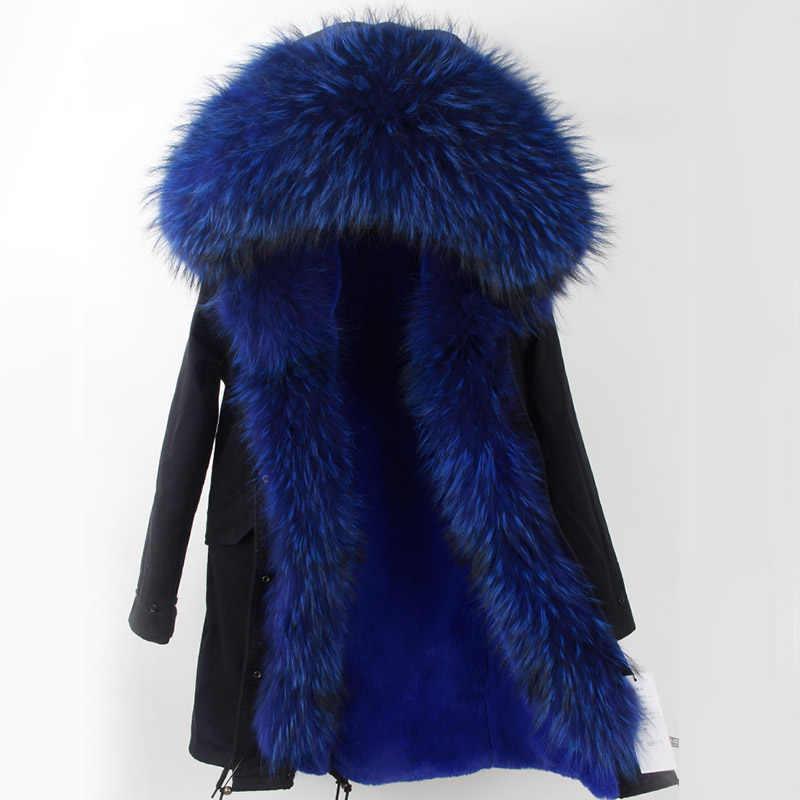 2019 neue Mode Winter Pelzmantel Mit Großen Waschbären Pelz Kragen faux liner Mantel Für Frauen Winter Parka Mantel Freies versand Top marke