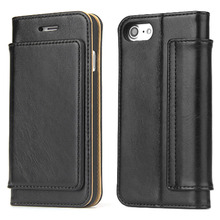 ФОТО 2018 Hand-made leather Crazy Horse stripe Left and right Flip cover With Card Pocket Leather case  iphone 7 8 protection Case