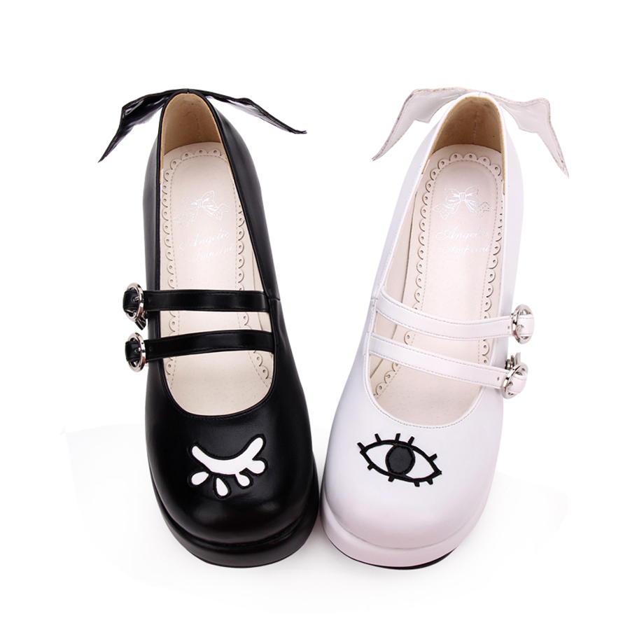 Big Size Spring Autumn Fashion Womens PU Leather Flat Muffin Shoe Anime Gothic Wings Girls Halloween Devil Lolita Platform Shoes