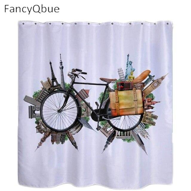 Fashion 3D Printing Creative Bike Shower Curtains Unique Shower Curtains  180*180cm Funky Shower Curtains