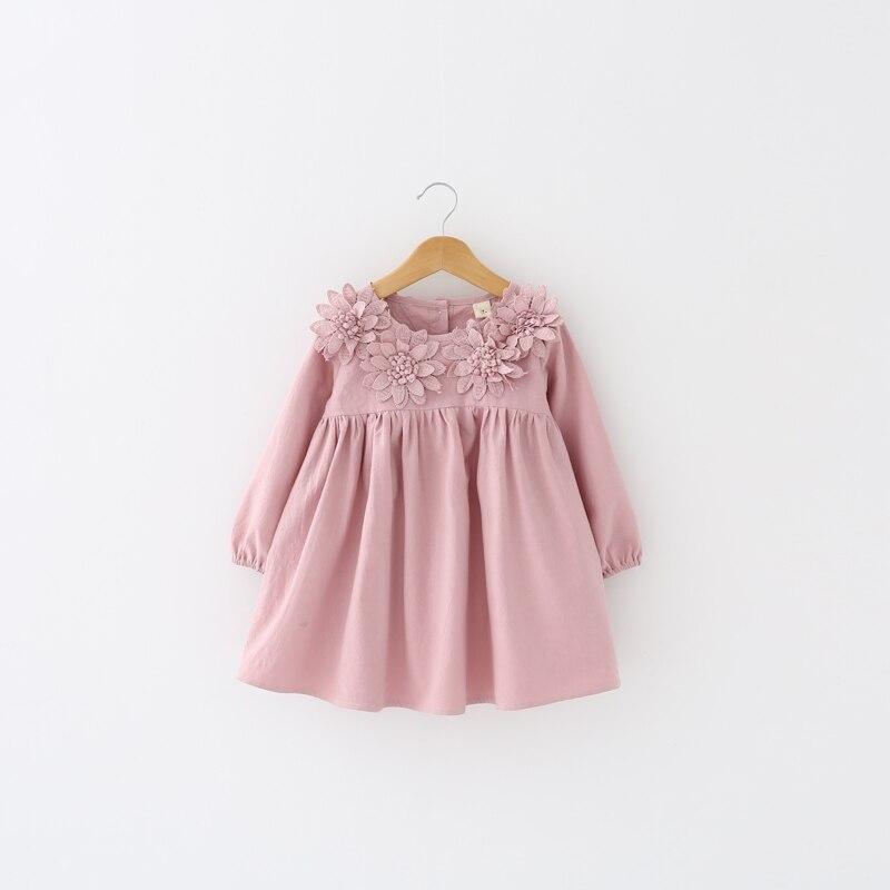 Baby Girls Dress Spring Autumn Fashion Children Girls Clothes Long Sleeve Flower Dress Children Clothing 3-8Y Girl