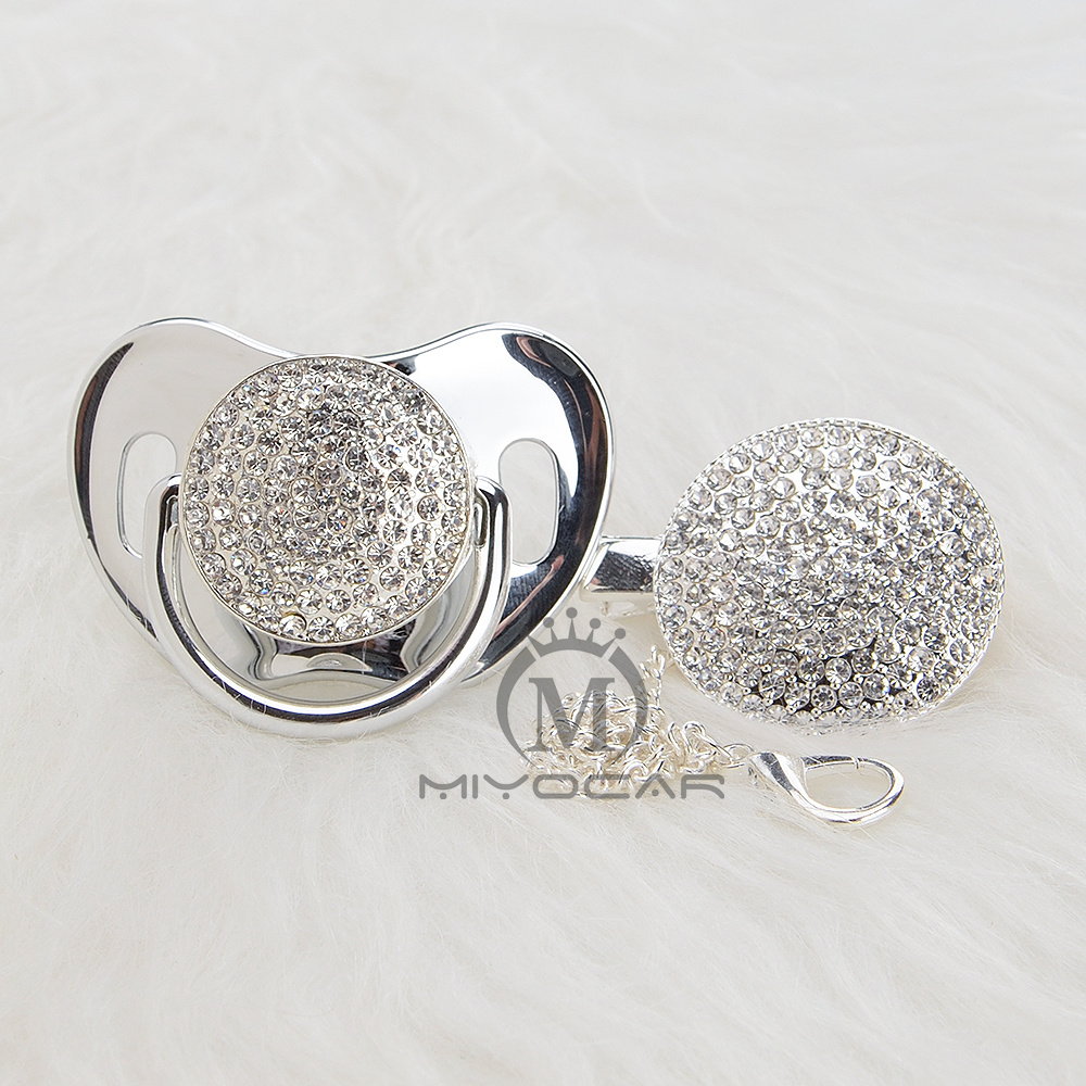 MIYOCAR BLING All Silver Gold Bling  Pacifier And Pacifier Clip Unique Design  Baby SGS Certificate Safe And Unique AS