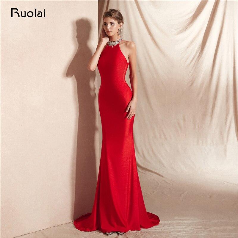 2019 robe de soirée sirène longue licou perlée robe de soirée rouge tenue de soirée femmes Vestido de Fiesta SN16