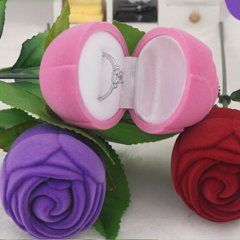 Portable 3D Rose Jewelry Box Wedding Ring Gift Case Earrings Storage Display Holder Gift Boxes For Earring Rings 2 colors