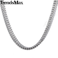 6mm Wide Mens Chain Boys DOUBLE FOXTAIL BOX Silver Tone Stainless Steel Necklace KN257