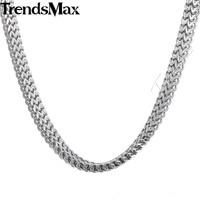 Trendsmax 6mm Large Chaîne Hommes Garçons DOUBLE SÉTAIRE BOX Ton Argent En Acier Inoxydable Collier de Haute Qualité Bijoux Bijoux KNM87