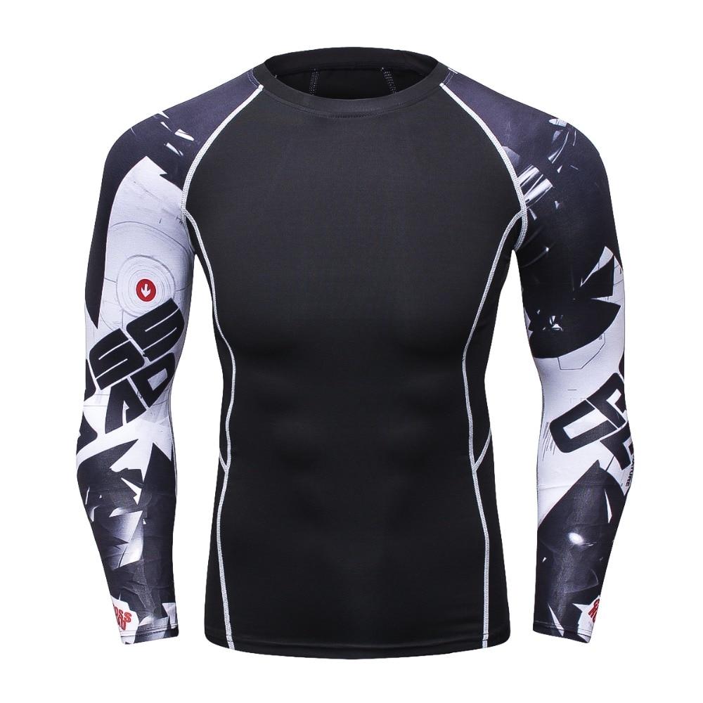 Sportswear 3D Compression Men T-Shirt MMA Rashguard Bodybuilding Fitness Clothing T Shirt Men Long Sleeve TShirt Tight Mens Tops