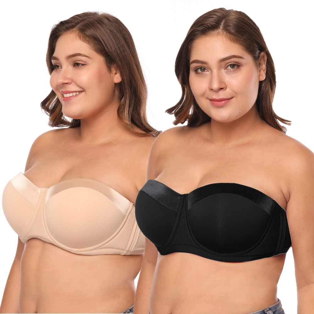 67a4737910f 2PK Women Plus Size Strapless Bra C to G Cups Half Cup Big Size Balconette  Bra