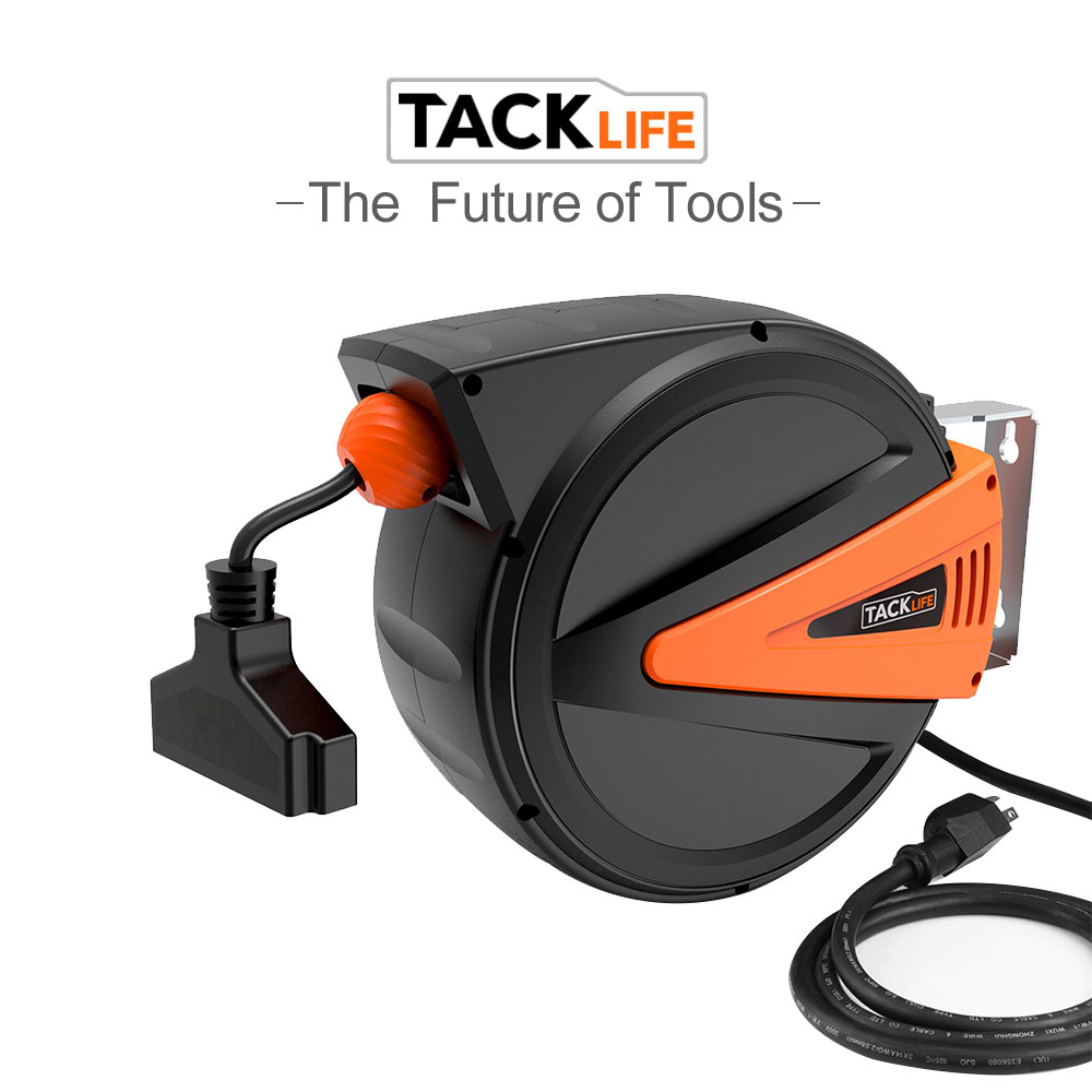 Tacklife Retractable Extension Cord Reel  Effortless Chute Mounting Bracket For Tools Room And The Automotive Industry