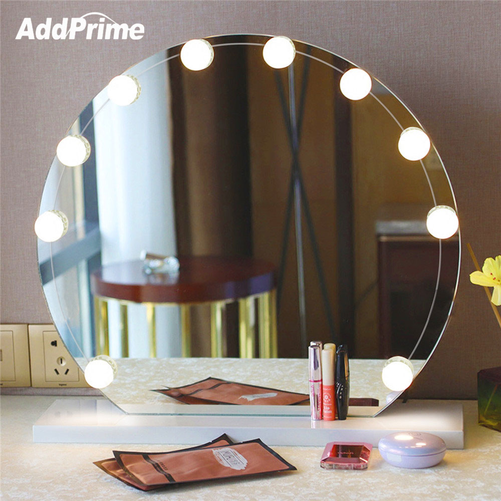 LED Vanity Table Makeup Mirror Light Bulb Kit USB Dimmable Makeup Table Hollywood Mirror Lights Bathroom Dressing Table Light hollywood style makeup mirror vanity led light bulb kit for dressing table with dimmer power supply plug in linkable ac 100 240v