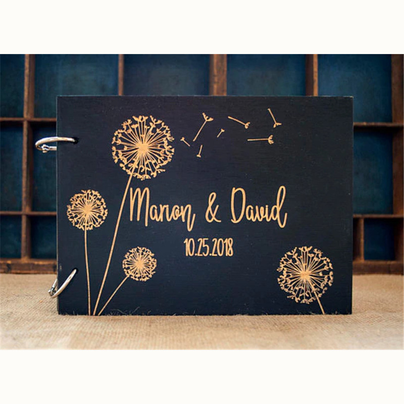 Custom Mr And Mrs Wedding Guest Book Rustic Guestbook Dandelion Laser Engraved Wedding Gift,Personalized Album Alternatives