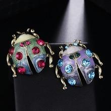 Fashion Jewelry Ladybug Brooch Vintage Animal Brooch Crystal Rhinestone Brooches For Women Gift