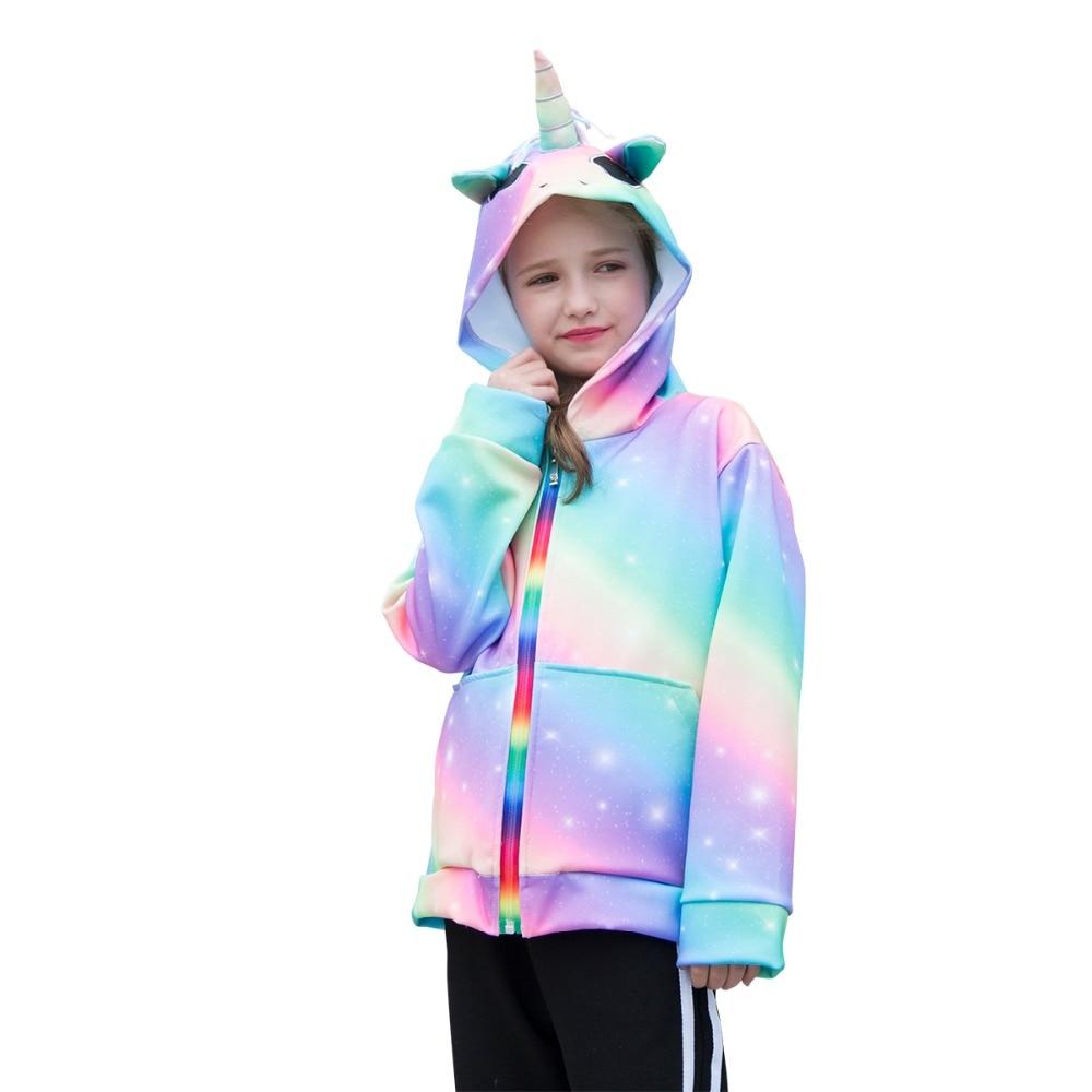 Spring Women Jacket 3D Rainbow Unicorn Hooded Women Spring Autumn Outwear Coats Zipper Hoodies Kids's Clothes 6-14 Years Jackets & Coats, Low cost Jackets & Coats, Spring Women Jacket...