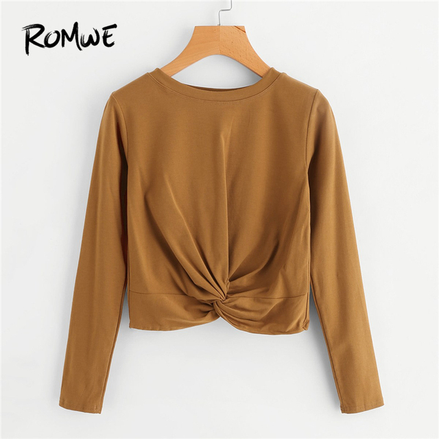 25ca9cdf560 ROMWE Brown Twist Detail Crop Tshirt Women Casual Spring Autumn Plain Round  Neck Long Sleeve Clothing
