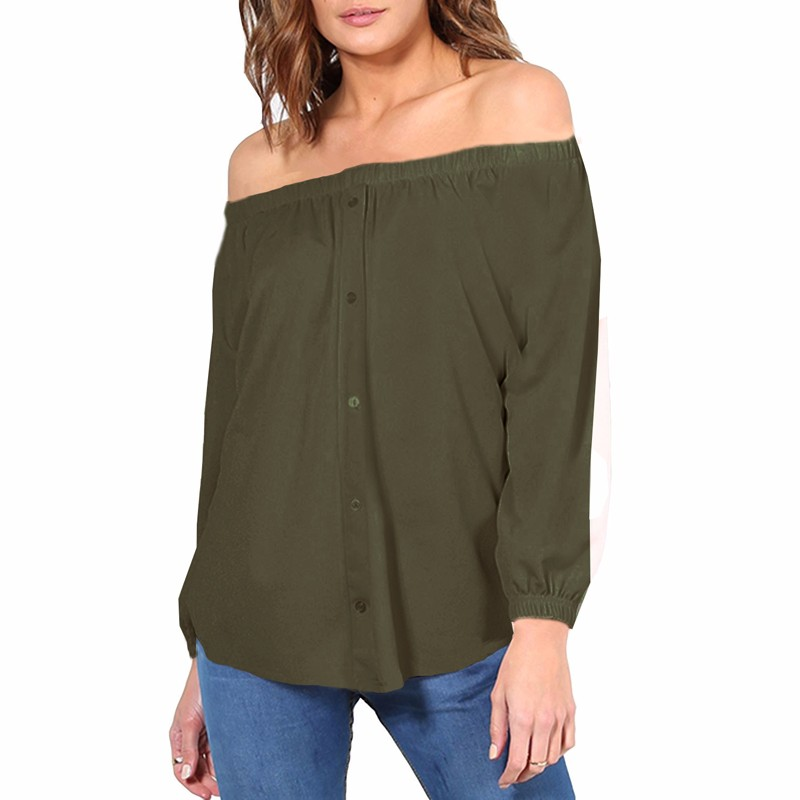 Women Sexy Off Shoulder Blouse Spring Autumn 2018 Long Sleeve Shirt Button Casual Loose Tops Tee Slash Neck Blusas Plus Size