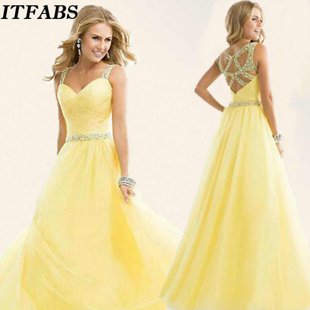 c45fbfa331c Detail Feedback Questions about Formal Gown Ball Wedding Prom Party Dress  Yellow Color New Long Chiffon Party Bridesmaid on Aliexpress.com | alibaba  group