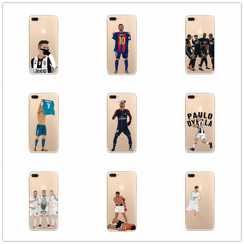 Sports soccer star big case TPU for iPhone 8 7 6 6s 5s + X phone cover.Soft silicone