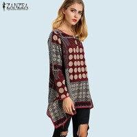 ZANZEA Oversized Women Boho Floral Print Cotton Linen Shirt Autumn Long Sleeve Irregular Hem Casual Loose