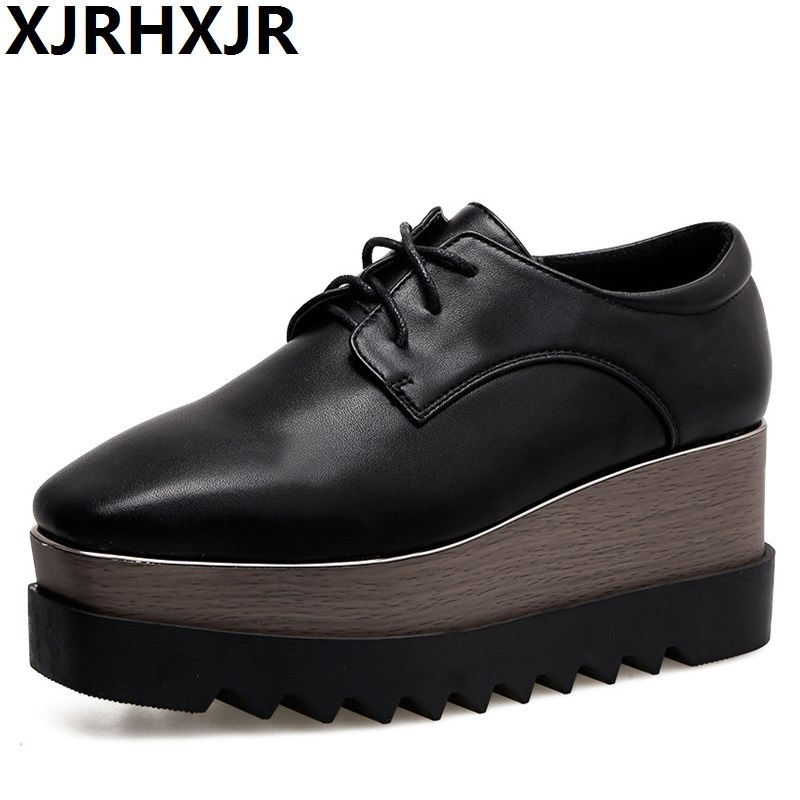 XJRHXJR New Women Platform Oxfords Brogue Flats Shoes Pu Leather Lace Up Square Toe Luxury Brand Black Creepers Size 34-39 2017 women genuine leather brogue flats shoes patent leather lace up pointed toe luxury brand red blue black pink creepers