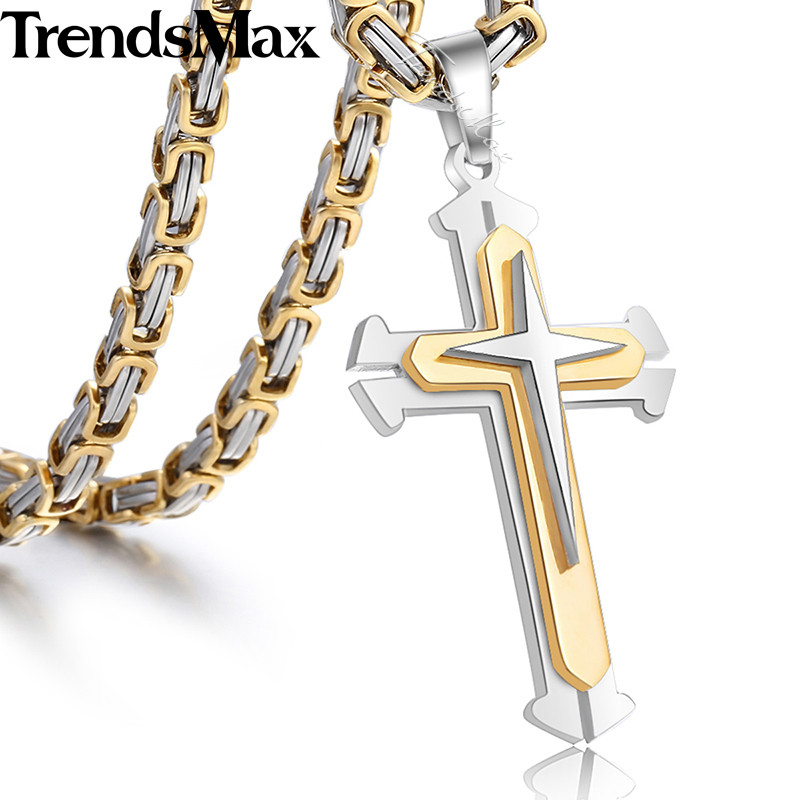 Men s Cross Necklace Gold Silver Black Cross Pendant Stainless Steel Byzantine Chain Necklace 2018 Hip