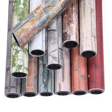 Papel pintado de ladrillo de imitación grueso retro chino, ladrillo rojo, azul, PVC, impermeable, autoadhesivo, para sala de estar y TV
