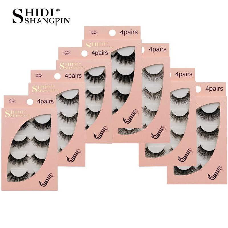 SHIDISHANGPIN Natrual 3D Vison Cílios Postiços 4 Pares Make up 3D Vison Cílios Tira Completa Cílios cils falso Fofo Macio maquiagem