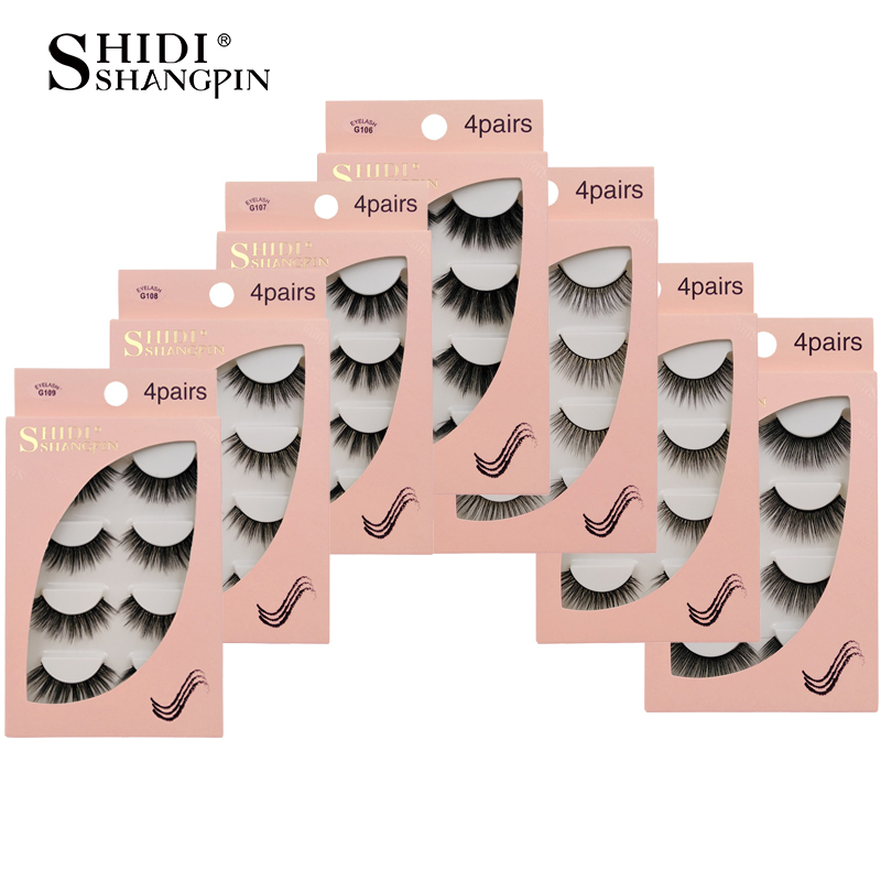 SHIDISHANGPIN Natrual 3D Mink False Eyelashes 4 Pairs Make Up Full Strip Lashes 3D Mink Lashes Fluffy Faux Cils Soft Maquiagem