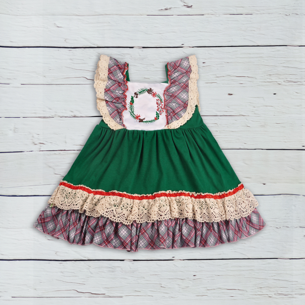 girl patchwork dress baby girls sleeveless print girls clothing boutique holiday kids wear christmas dress LYQ809-317