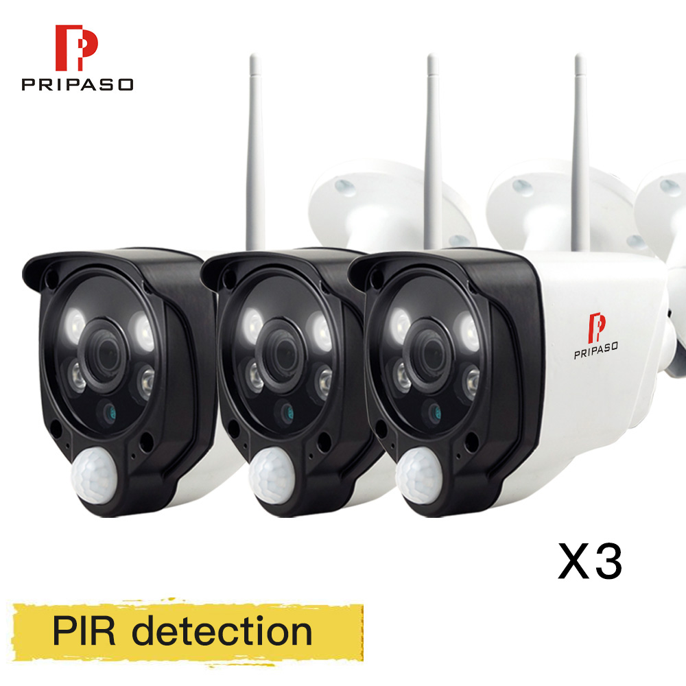 3 шт. Pripaso ПИР IP камера FHD 1080 P 720 P Сети Wi-Fi камеры ВИДЕОНАБЛЮДЕНИЯ открытый мини пуля камеры безопасности ONVIF P2P удаленный просмотр