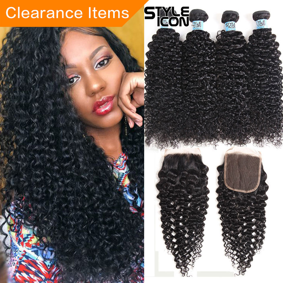 Malaysian Kinky Curly Hair With Closure 2 3 4 Bundles Curly Weave With Closure Styleicon Human Hair Curly Bundles With Closure