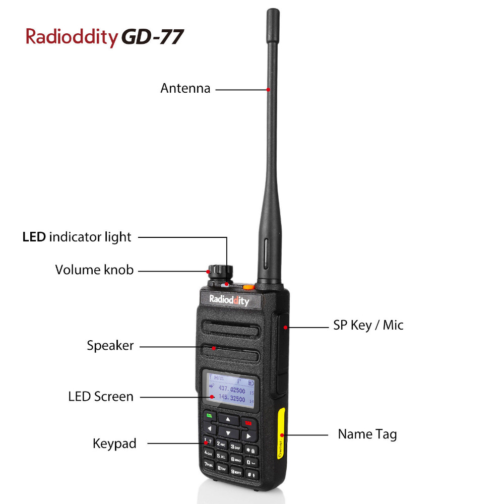 Radioddity GD 77 DMR Dual Time Slot Dual Band Digital Analog Two Way Radio 136 174 400 470MHz Ham Walkie Talkie with Battery in Walkie Talkie from Cellphones Telecommunications