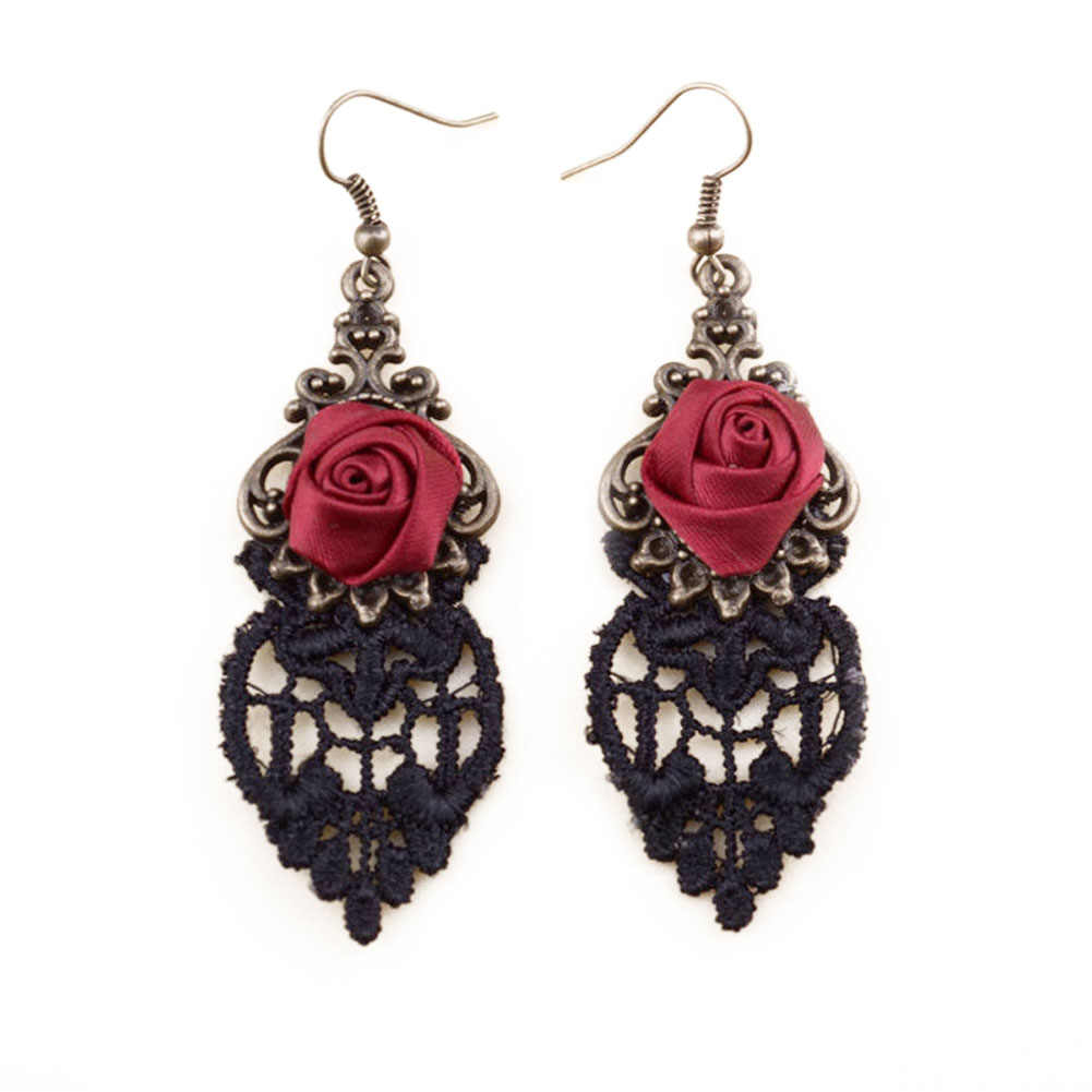 New Gothic Dangle Earrings Medieval Retro Vampire Silk Red Rose Lace Elegant Party Costume Ball Drop Earrings for Women