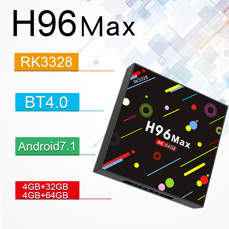 H96 MAX -H2 TV Box Android 7.1 4GB RAM 64GB ROM Set Top Box RK3328 2.4G/5G Wifi 100Mbps BT 4.0 4K USB Media Player PK X92