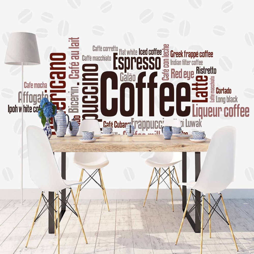 Else White Floor Coffee Latte Brown Beans Writen 3d Print Photo Cleanable Fabric Mural Home Decor Kitchen Background Wallpaper
