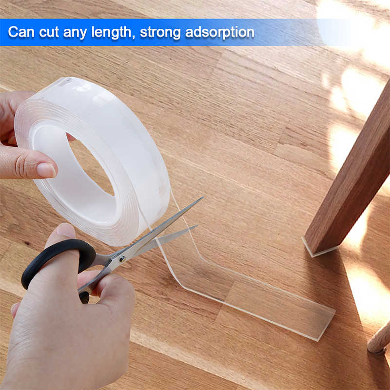 Home Improvement Double Sided Tape Nano Transparent No Trace Acrylic Magic Tape Reuse Waterproof 5M Adhesive Tape Cleanable
