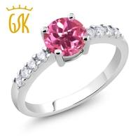 1 54 Ct Round Pink Mystic Topaz Rhodium Plated Ring