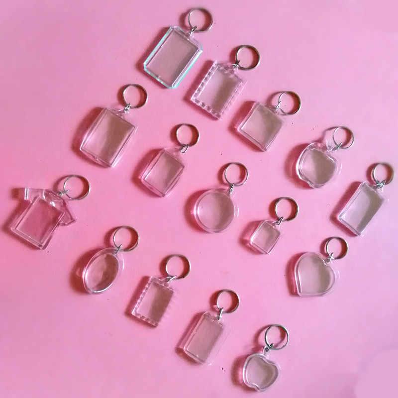1 ชิ้นอะคริลิคพวงกุญแจใส่ Photo พลาสติก Keyrings คีย์สแควร์สี่เหลี่ยมผืนผ้าหัวใจวงกลมอุปกรณ์เสริม