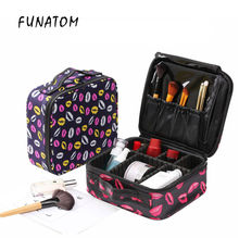 Beautician Professional makeup Bag Cosmetic bag Waterproof Red lips Make-up Cases Kosmetiktasche women suitcase bags