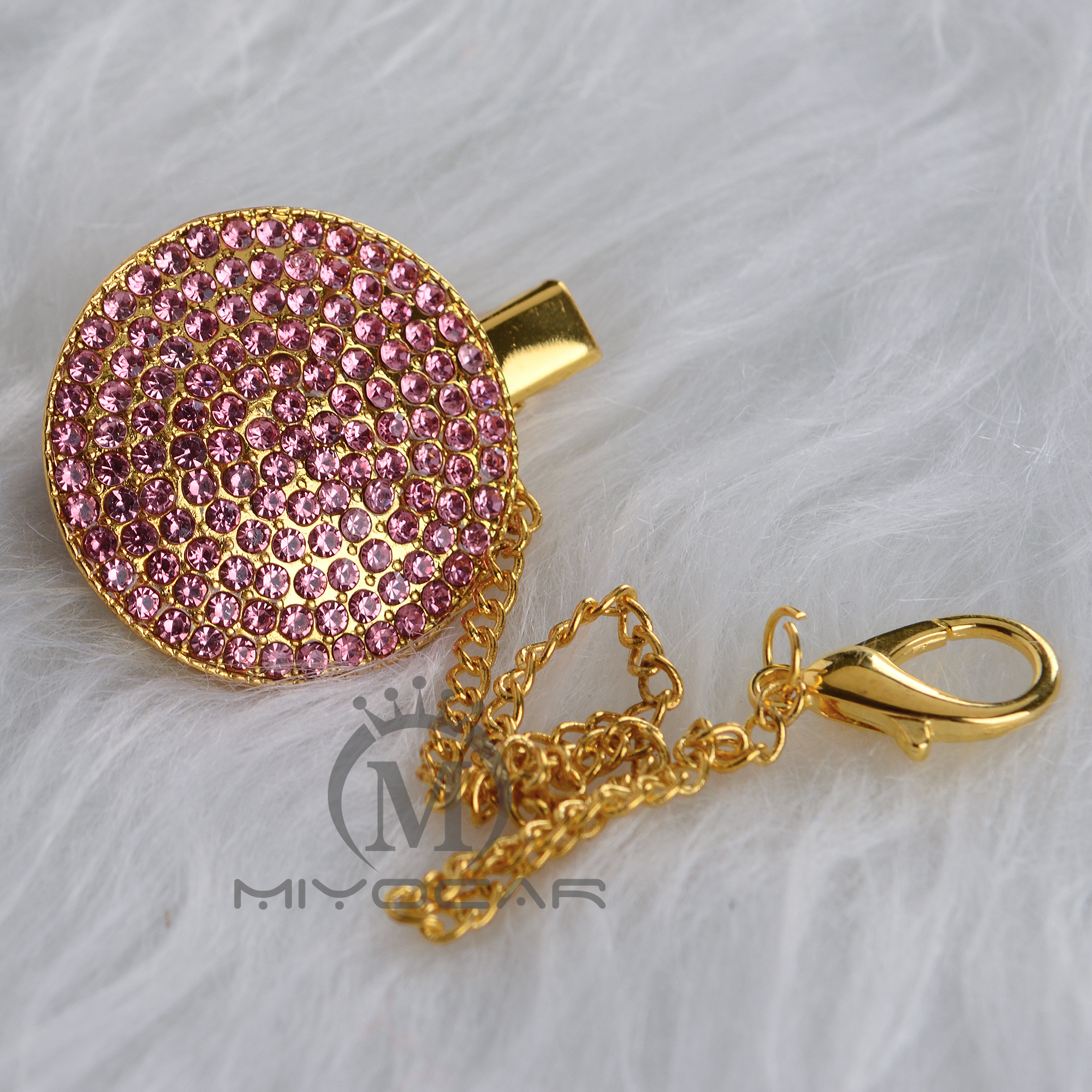MIYOCAR Bling Bling Pink Princess Pacifier Clip Pacifier Holder Chain Dummy Clip Metal Chain Safe To Baby CH-7