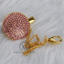 MIYOCAR bling pink princess pacifier clip holder chain dummy metal safe to baby CH-7