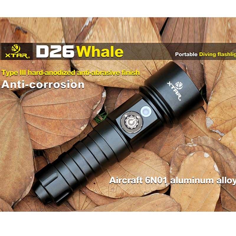 XTAR D26 комплект погружения фонарик CREE XM-L2 U3 светодио дный 4 режима 1100 люмен 18650/18700/26650 Дайвинг фонарик черный 100 м Дайвинг