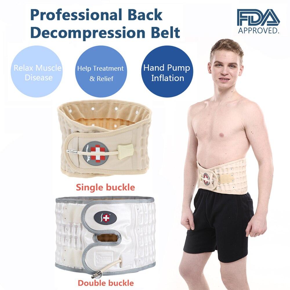 Back Decompression Belt Back Massager Backache Pain Relief Waist Lumbar Spinal Air Traction Brace Supports Belt