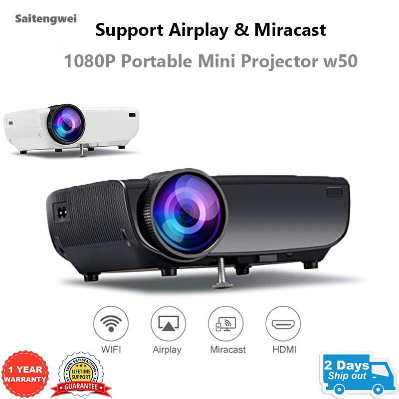 [Support Airplay & Miracast] 1080P Mini Portable Projector for Home Theatre Supports Wifi Airplay