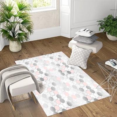 Else  Gray Pink White Vintage Circle Geometric 3d Print Non Slip Microfiber Living Room Decorative Modern Washable Area Rug Mat