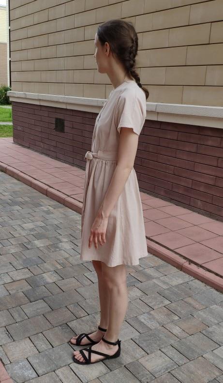 Vintage Button Women Dress Shirt V Neck Short Sleeve Cotton Linen Short Summer Dresses Casual Korean Vestidos photo review