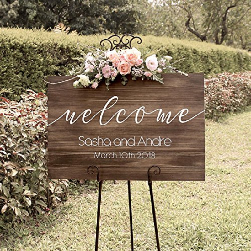 Wooden Wedding Welcome Sign Wedding Entrance Reception Sign Custom Any Background Bride Groom Name Wedding Date