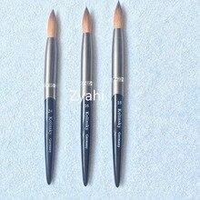 Черная металлическая ручка, большой размер, 1 шт., 24#22, круглая, острая, колонский Соболь, кисть, акриловая, для дизайна ногтей, цветная, металлическая, Хрустальная, акриловая, для салона
