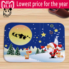 PEIYUAN Printed Cartoon Christmas Santa Claus Moon Child Snowman Flannel Door Mat Floor Mat Tapete Door Rug