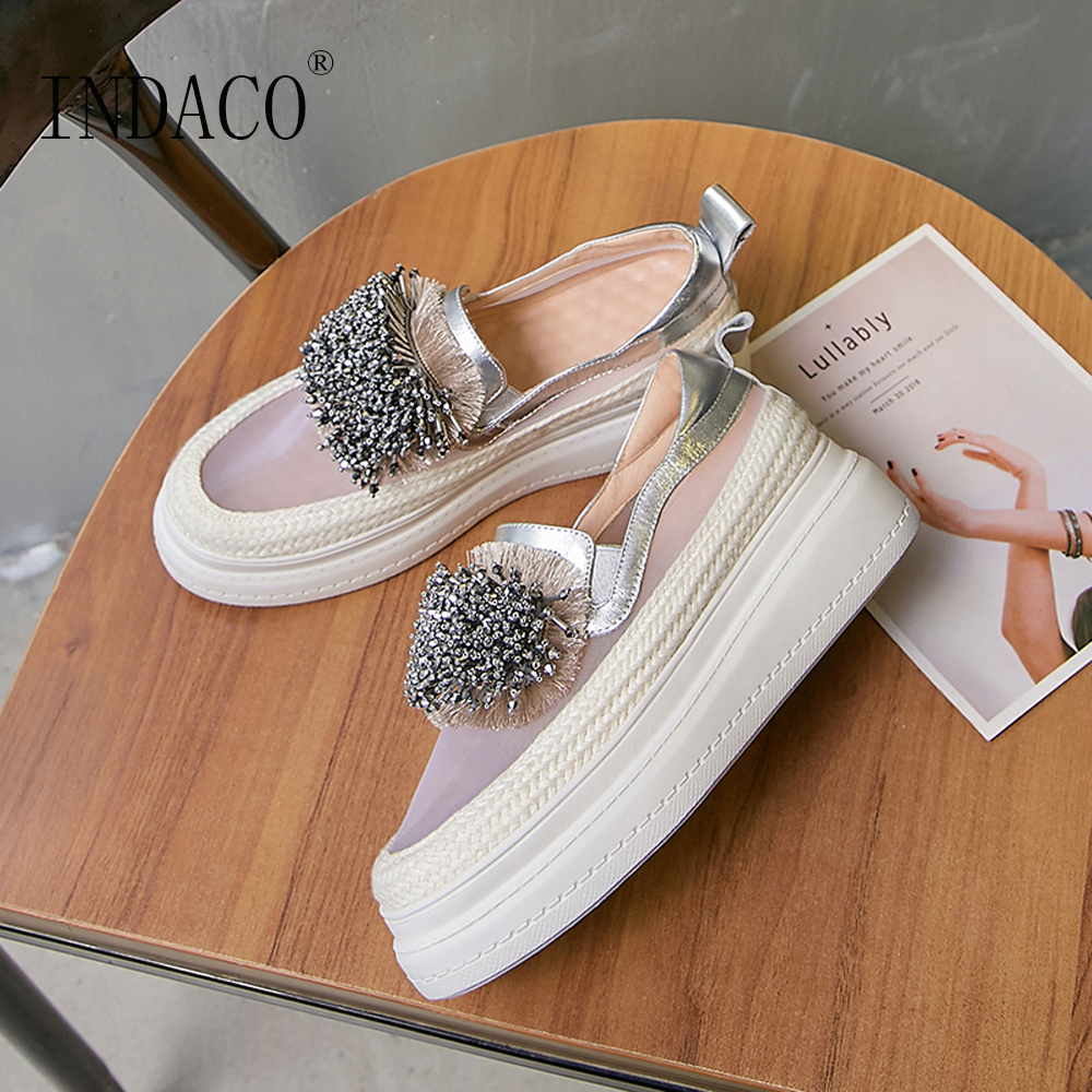 Femmes Chaussures Sneakers Femmes Plate-Forme Transparent Gland En Métal En Cuir Casual Chaussures Femmes 6 cm 2019